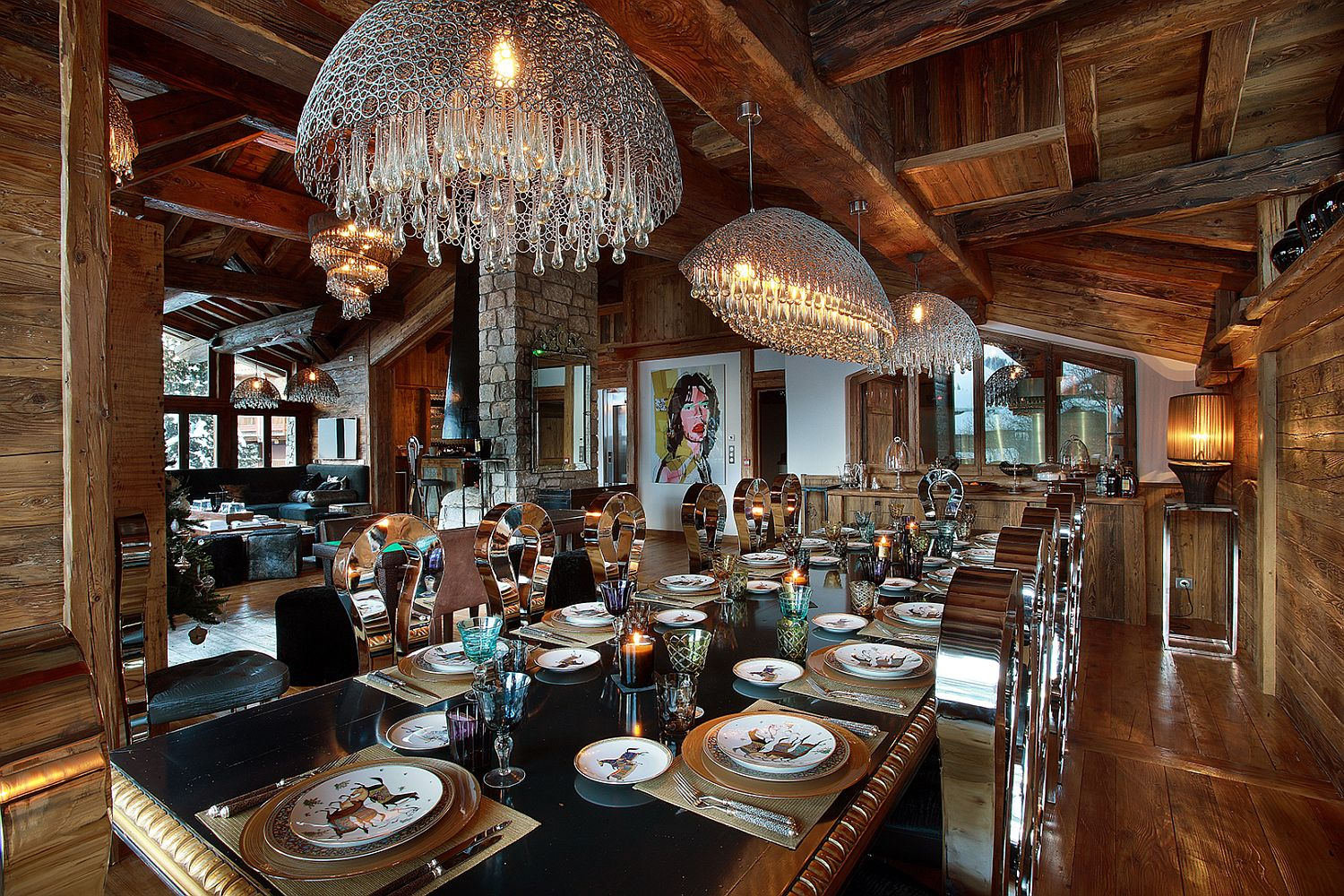 Spacious-dining-area-with-sparkling-chandeliers