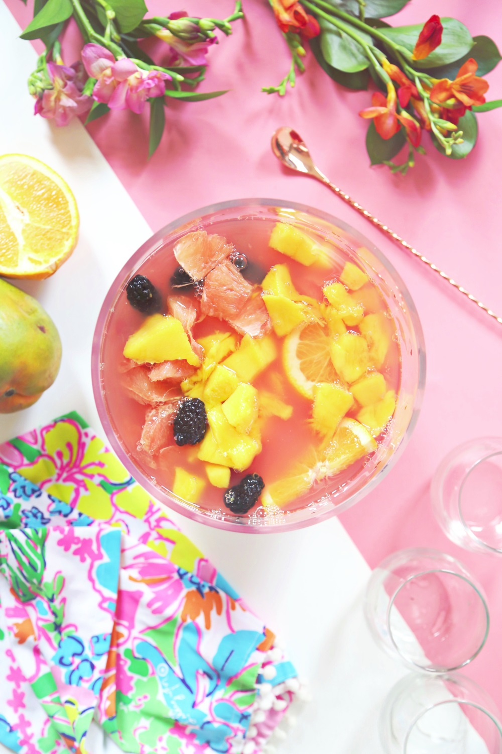 Sparkling hibiscus sangria from A Beautiful Mess