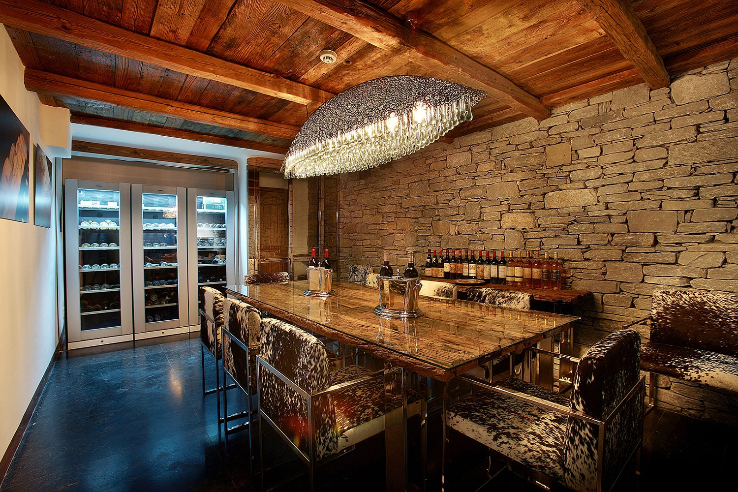 Stone walls of the wine tasting area