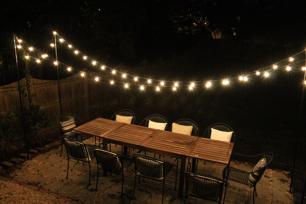 Beautiful Charming And Romantic Outdoors. String Lights ...