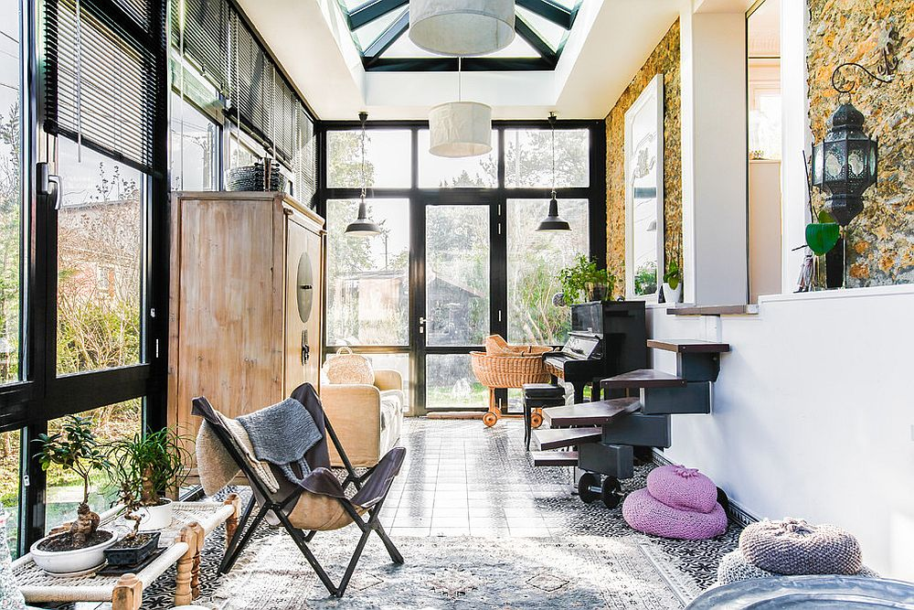 Stunning eclectic sunroom of Paris home combines comfort with style