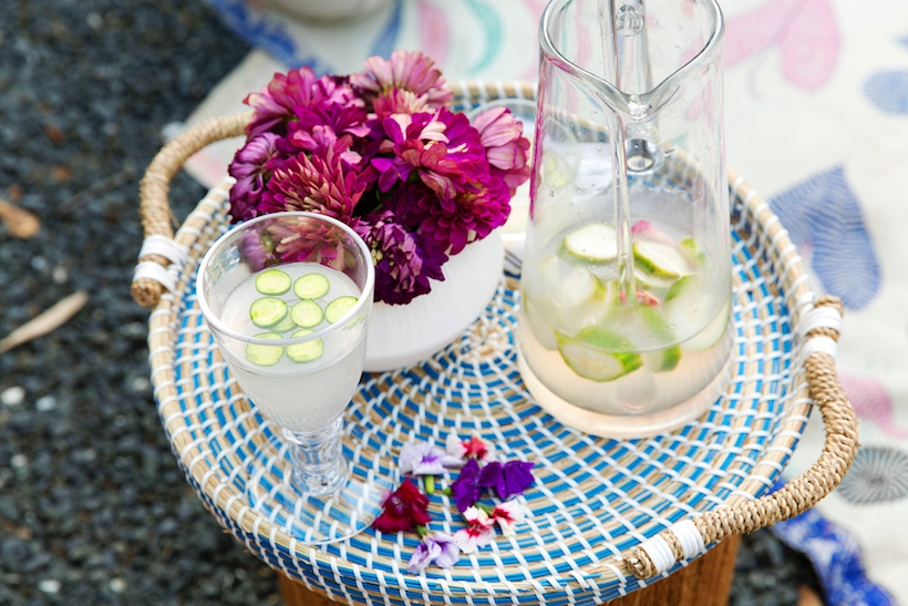 Summer drinks on a woven tray