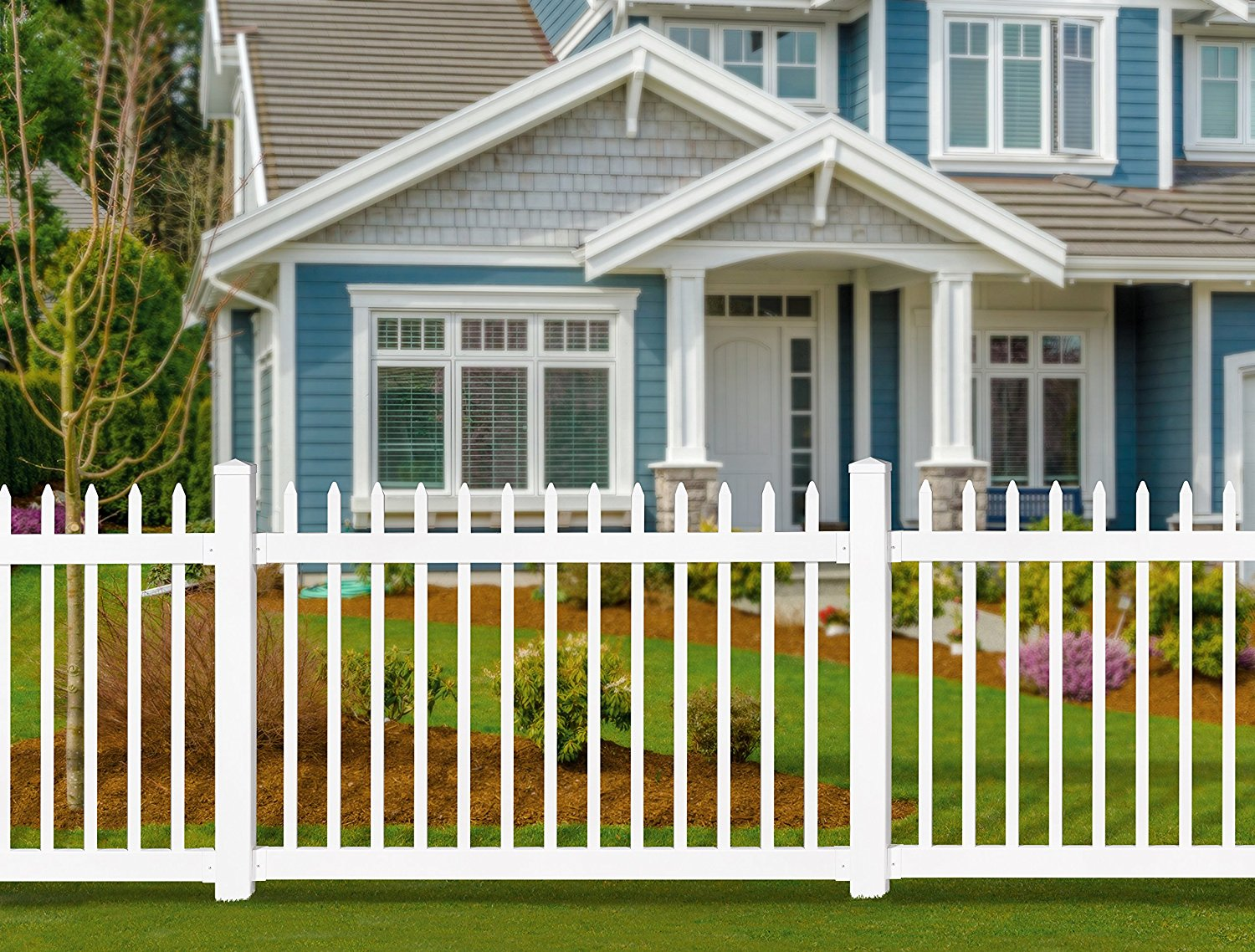 White picket fence home depot w white vinyl picket fence panel classy and traditional the white picket fence baanklon Images