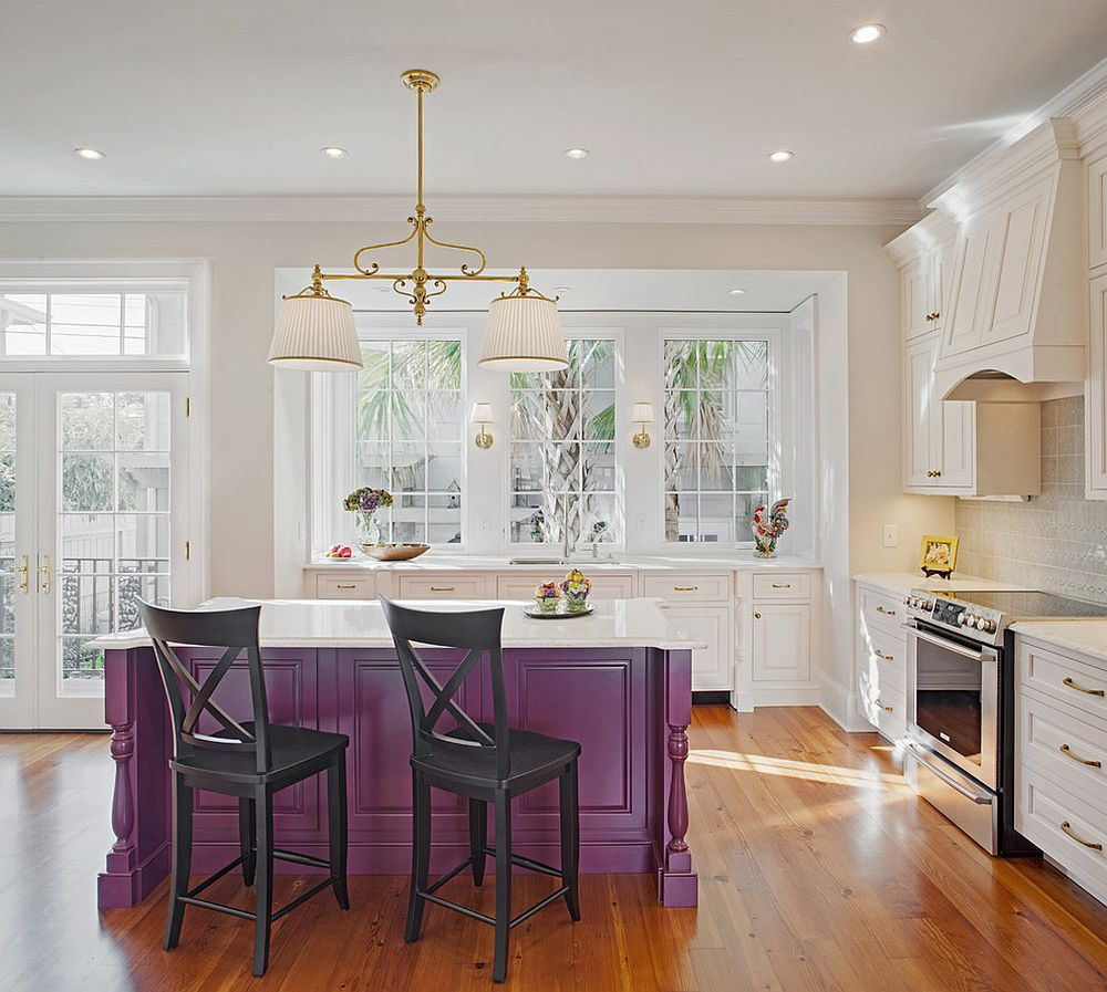Traditional kitchen island in purple with a white top