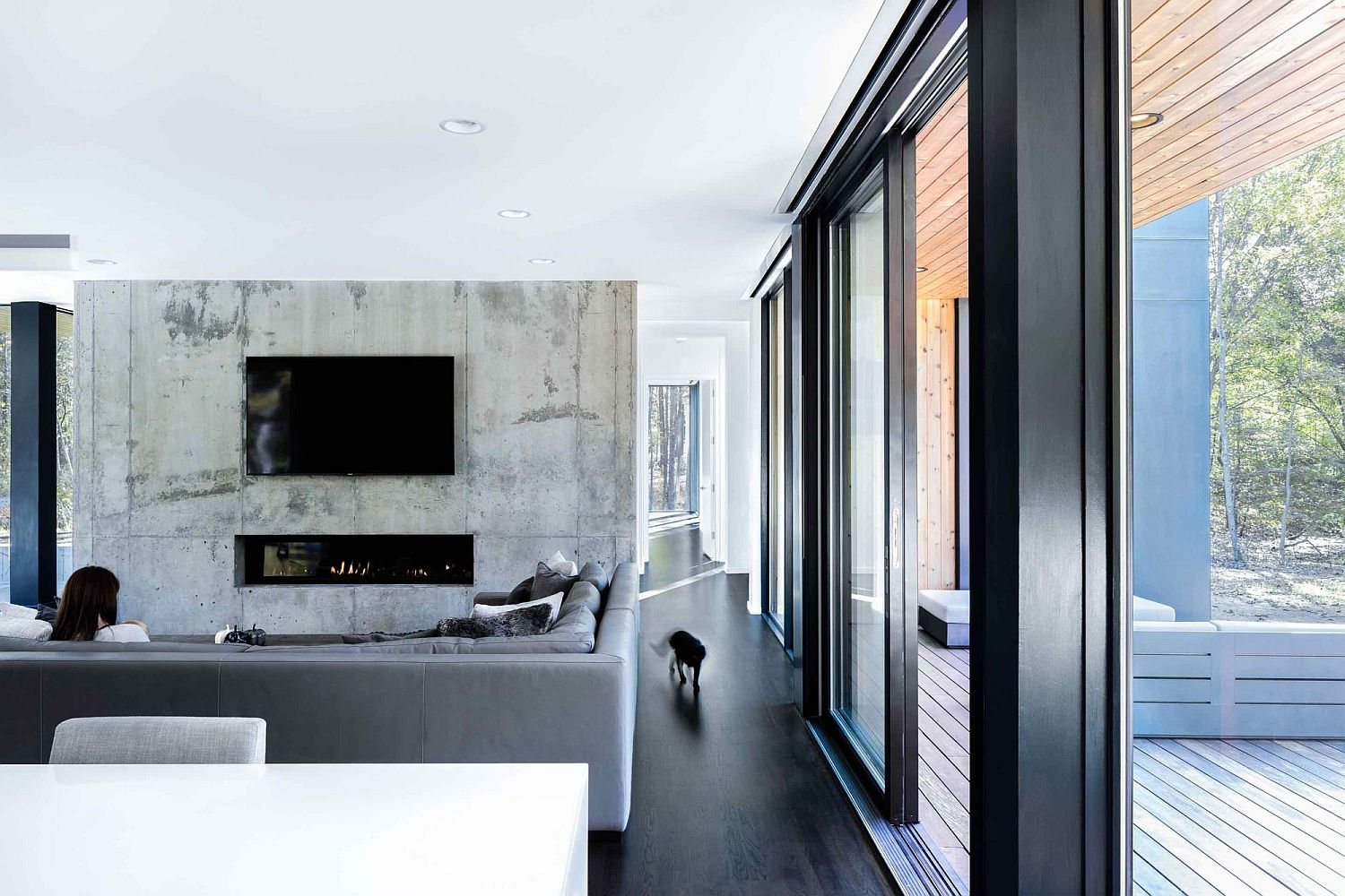 Ultra-minimal-interior-with-concrete-accent-wall-in-the-TV-room