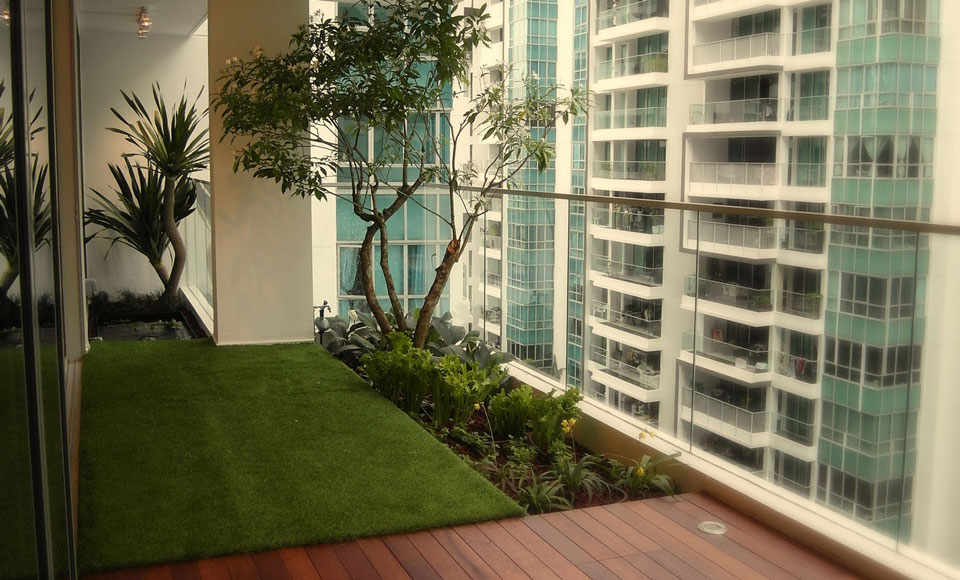 Urban balcony garden is an oasis within the city