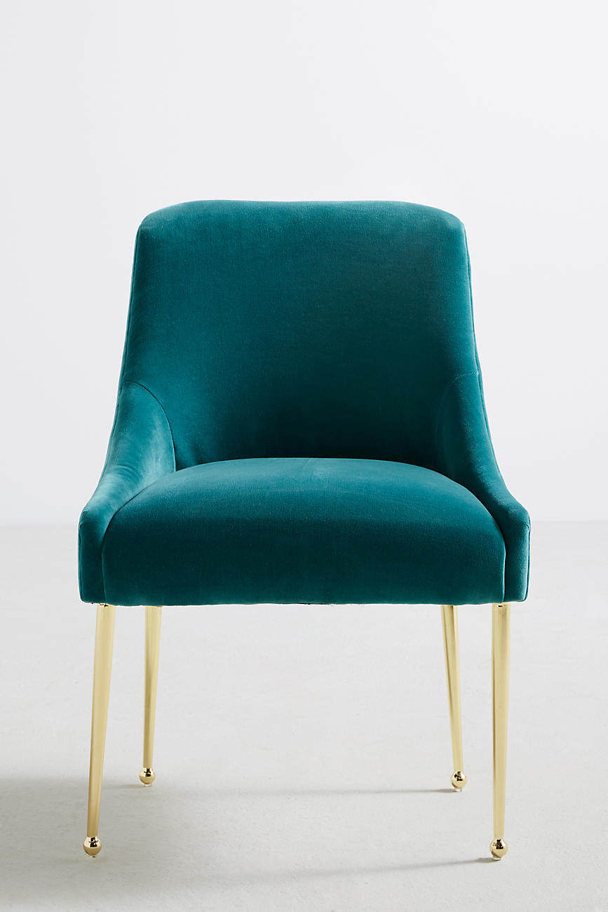 Velvet and brass chair from Anthropologie