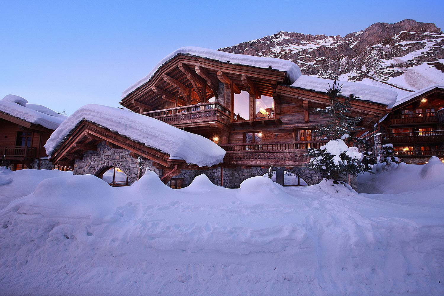 View of Snow-covered landscape around Marco Polo in Val d'Isère