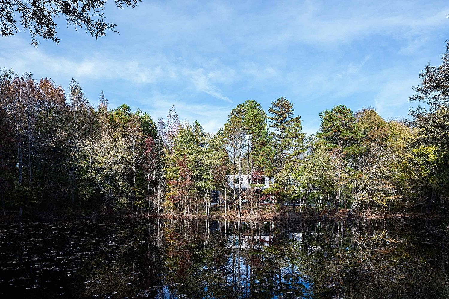 View-of-the-Taylor-Residence-from-the-natural-pond-on-its-lot