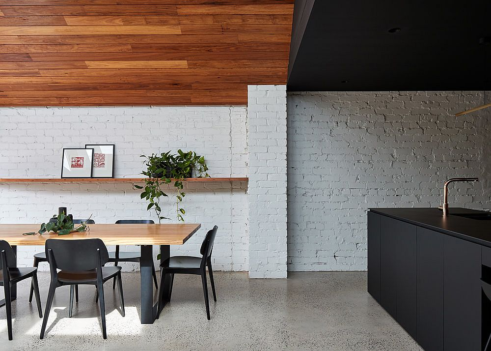 White, exposed brick wall for the modern extension