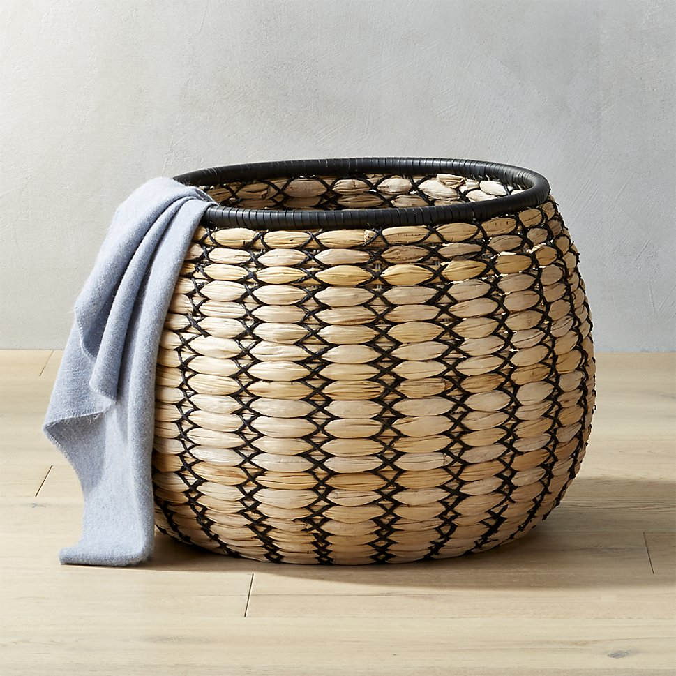Woven basket with black detailing