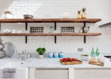 View In Gallery Modern Farmhouse Kitchen With Rustic Shelving And A Dark  Backdrop [From: Anthropologie Europe]