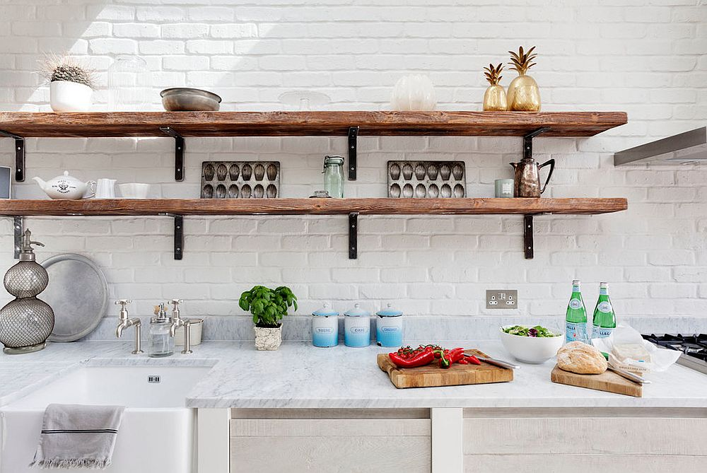 View In Gallery Wooden Shelving Combines Modern And Rustic Elements With Ease View In Gallery All White Kitchen