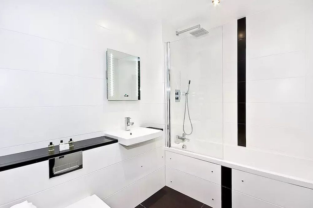Bathroom in white filled with a flood of light