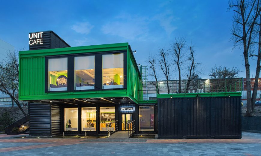 This Flamboyant Café in Kiev is Made out of 14 Shipping Containers!