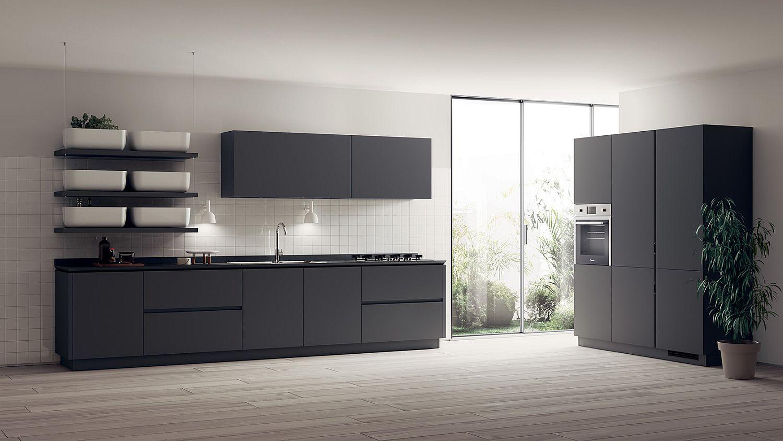 Black and white contemporary minimal kitchen idea