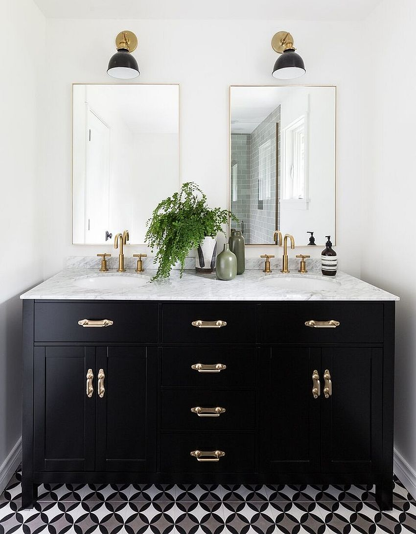 20 gorgeous black vanity ideas for a stylishly unique bathroom for Black and white bathroom vanity