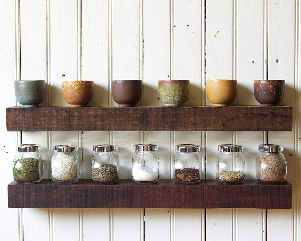 Block-style wooden shelves with plenty of display space