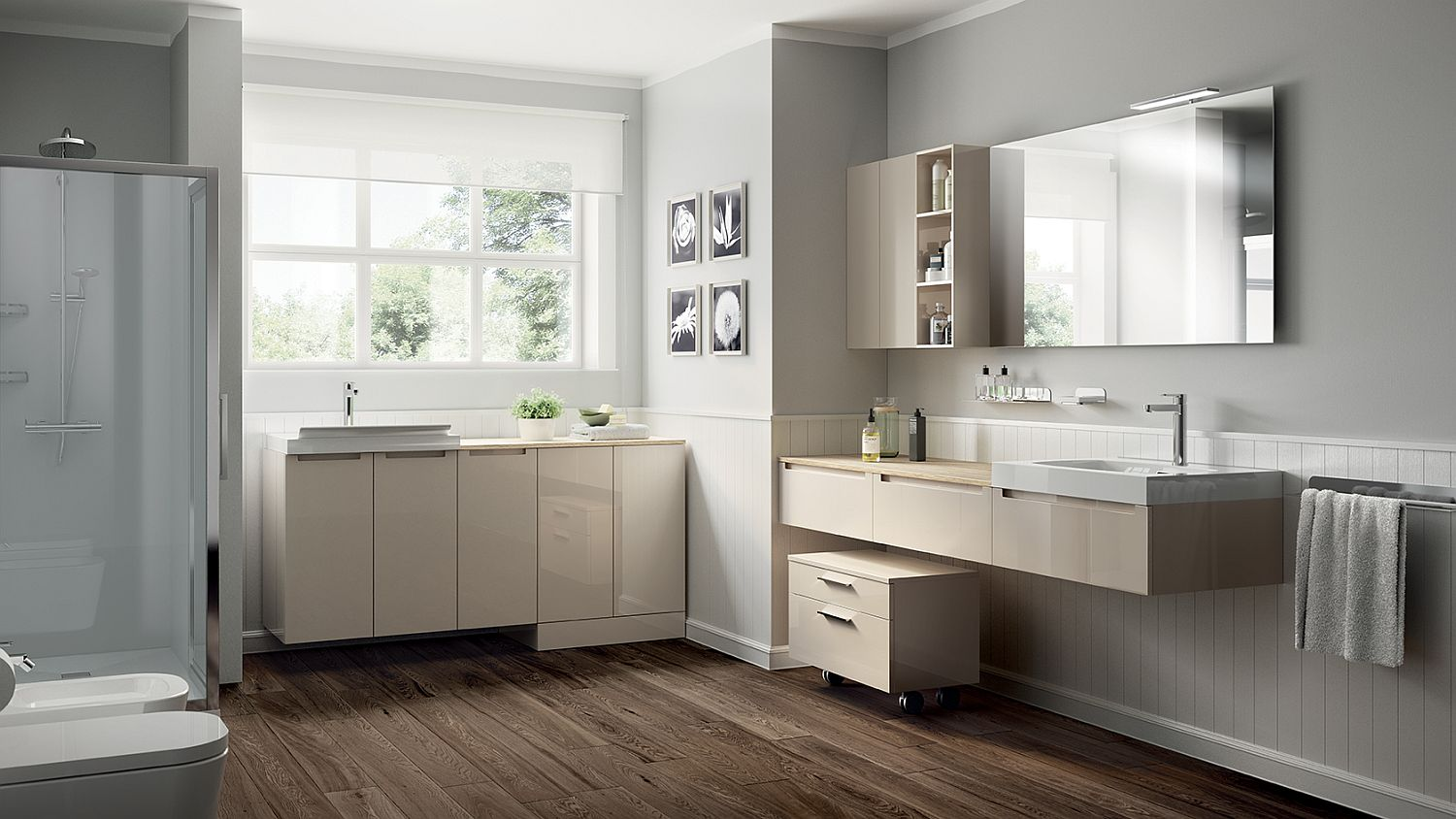 Cabinets with glossy finish and nifty laundry units create Idro themed Laundry Space