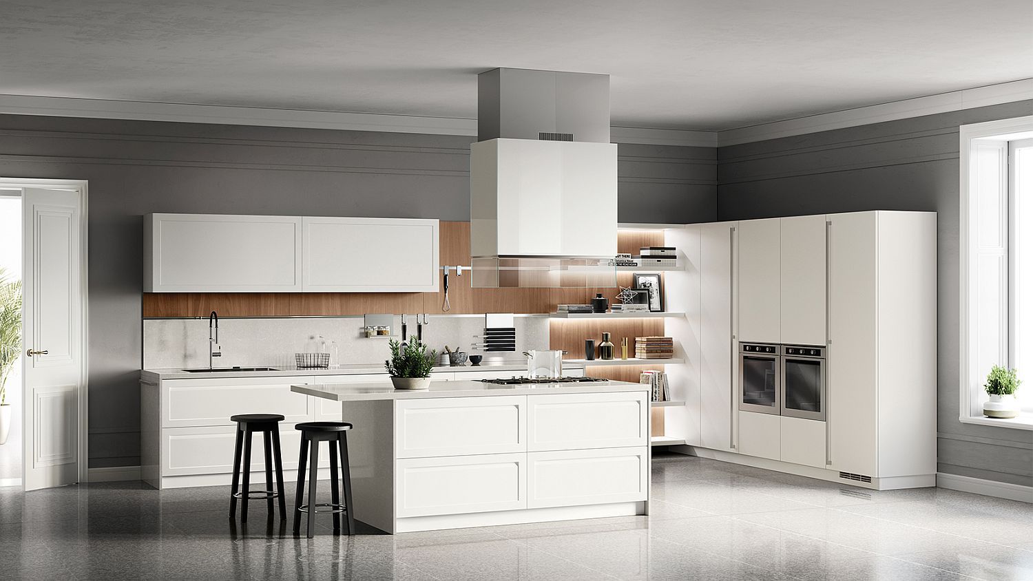 Carattere kitchen matches the aesthetics of the living composition