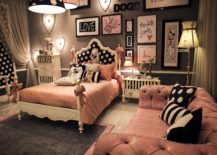 Chic-teen-bedroom-in-black-and-pink-with-matching-lighting-fixtures-217x155