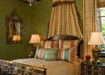 Classic-chandelier-visually-complements-the-painted-ceiling-of-the-Victorian-bedroom-217x155