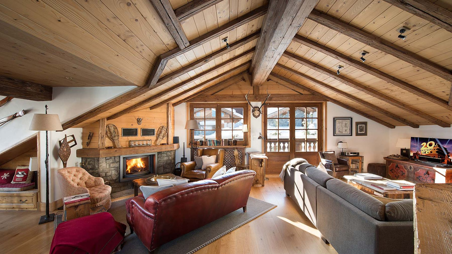 Classic wooden interior of the luxury French chalet with modern upgrade