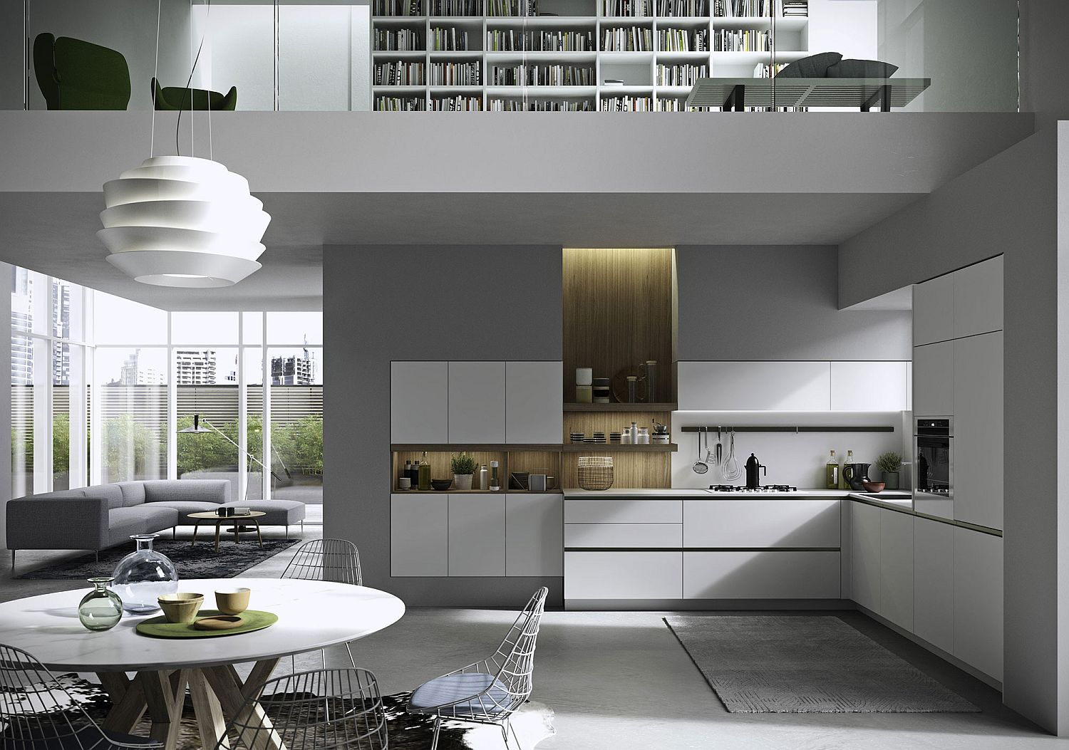 Combining the kitchen with the open plan contemporary living in style
