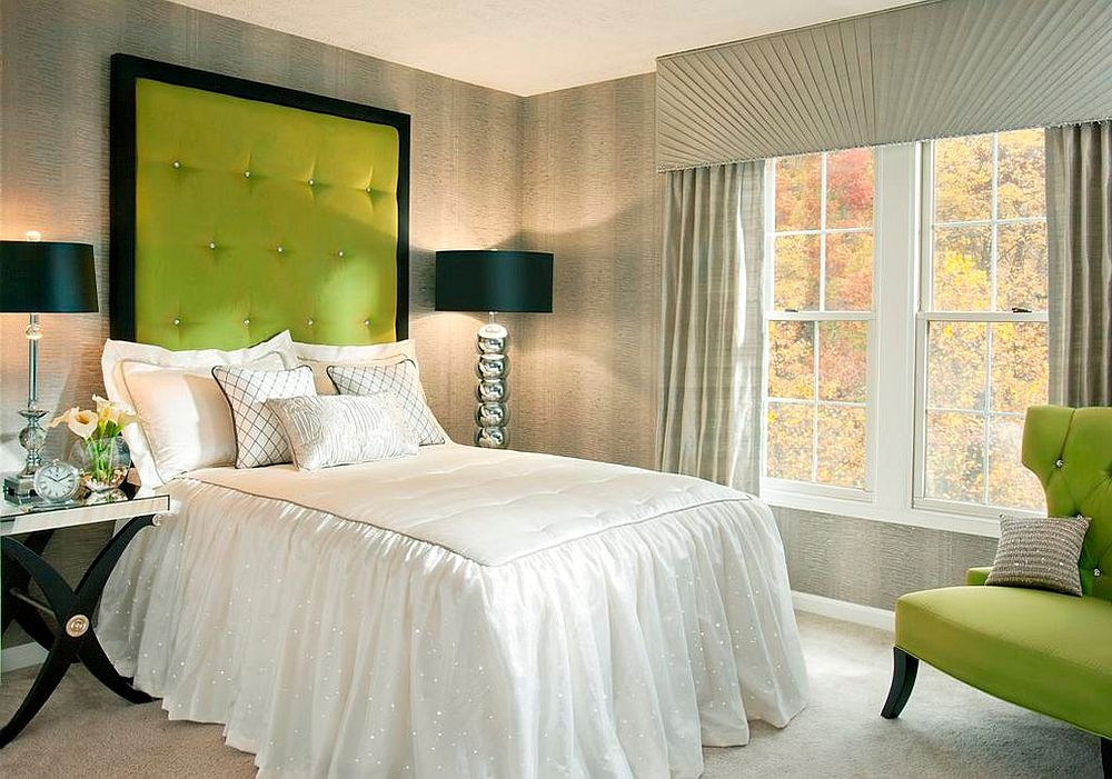 Contemporary guest room with lovely pops of apple green and space-savvy design