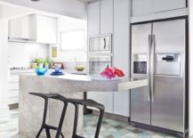 Contemporary kitchen with hexagonal floor tiles and a concrete island 217x155 Gorgeous Geo Flair: 10 Trendy Kitchens with Hexagonal Tiles