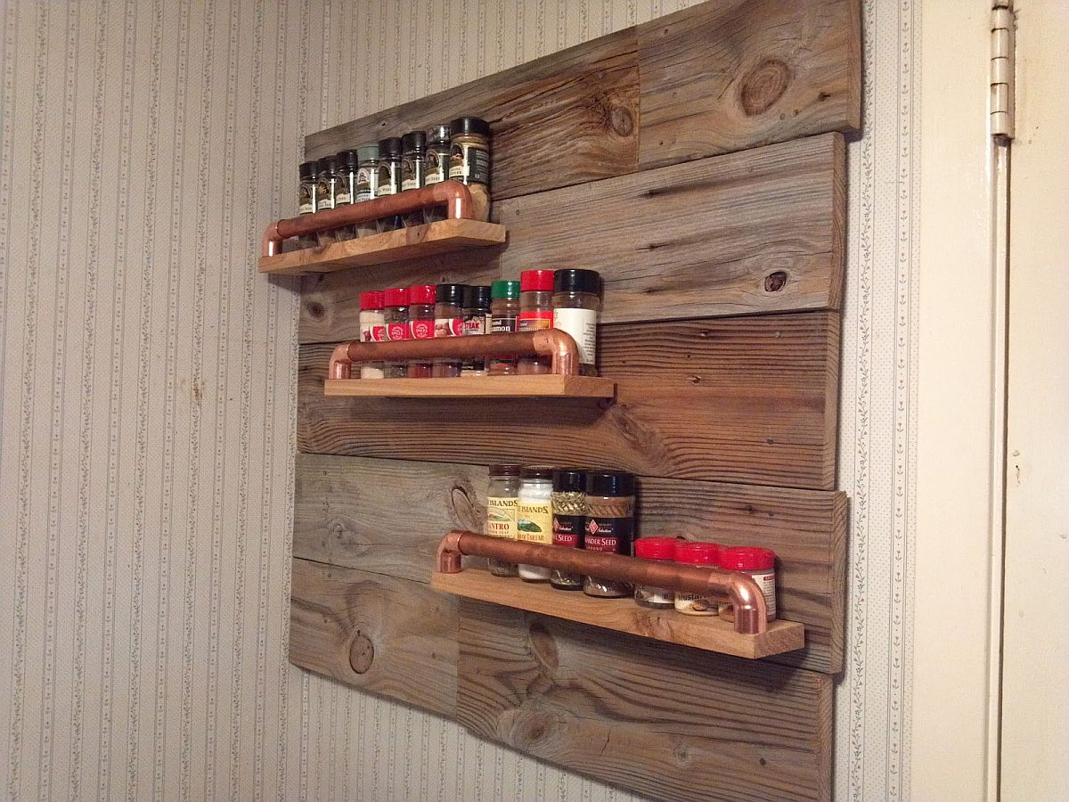 Copper and wood DIY rustic spice rack idea