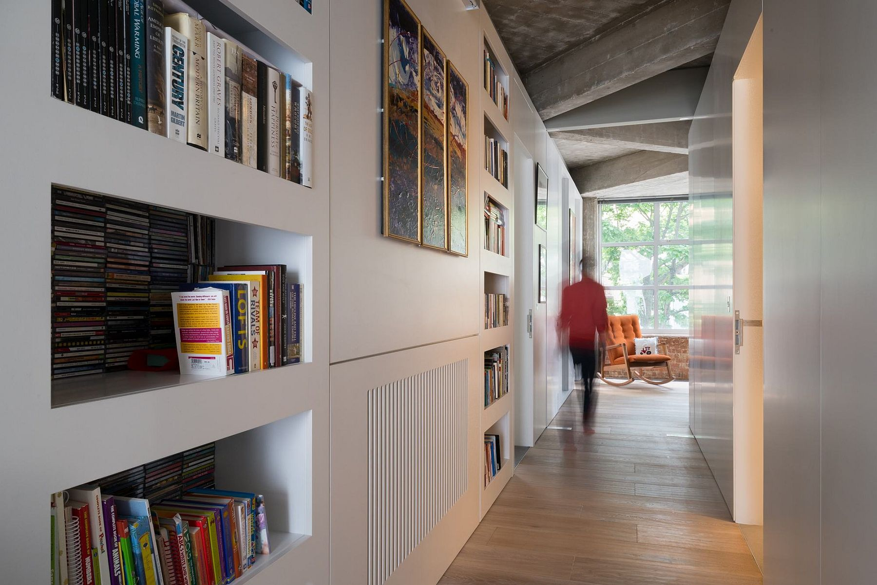 Custom additions and storage units bring additional functionality to the loft home