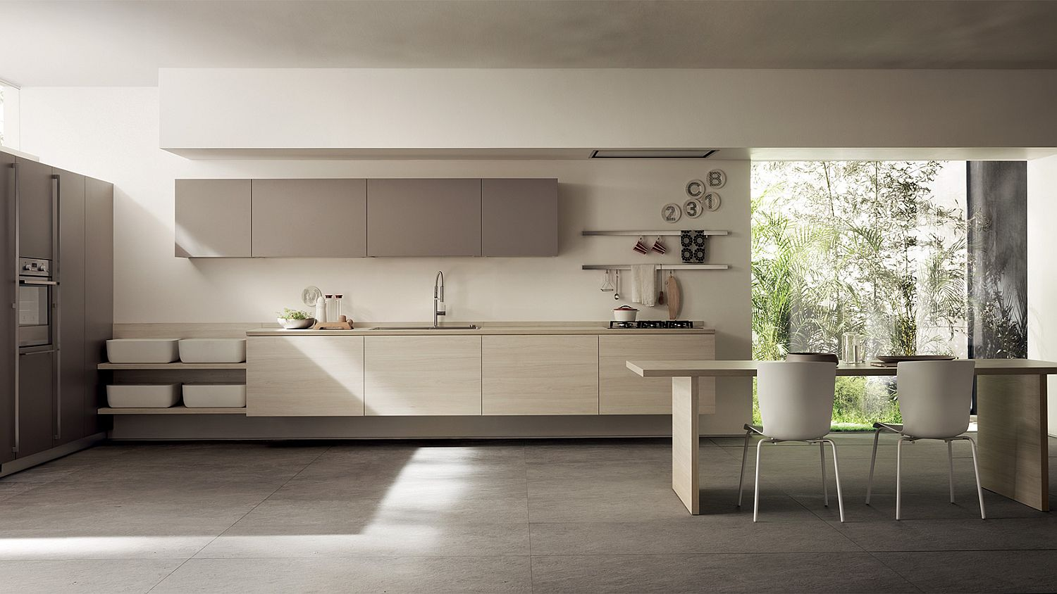 Custom minimal wooden units are the calling card of this exquisite Scavolini kitchen