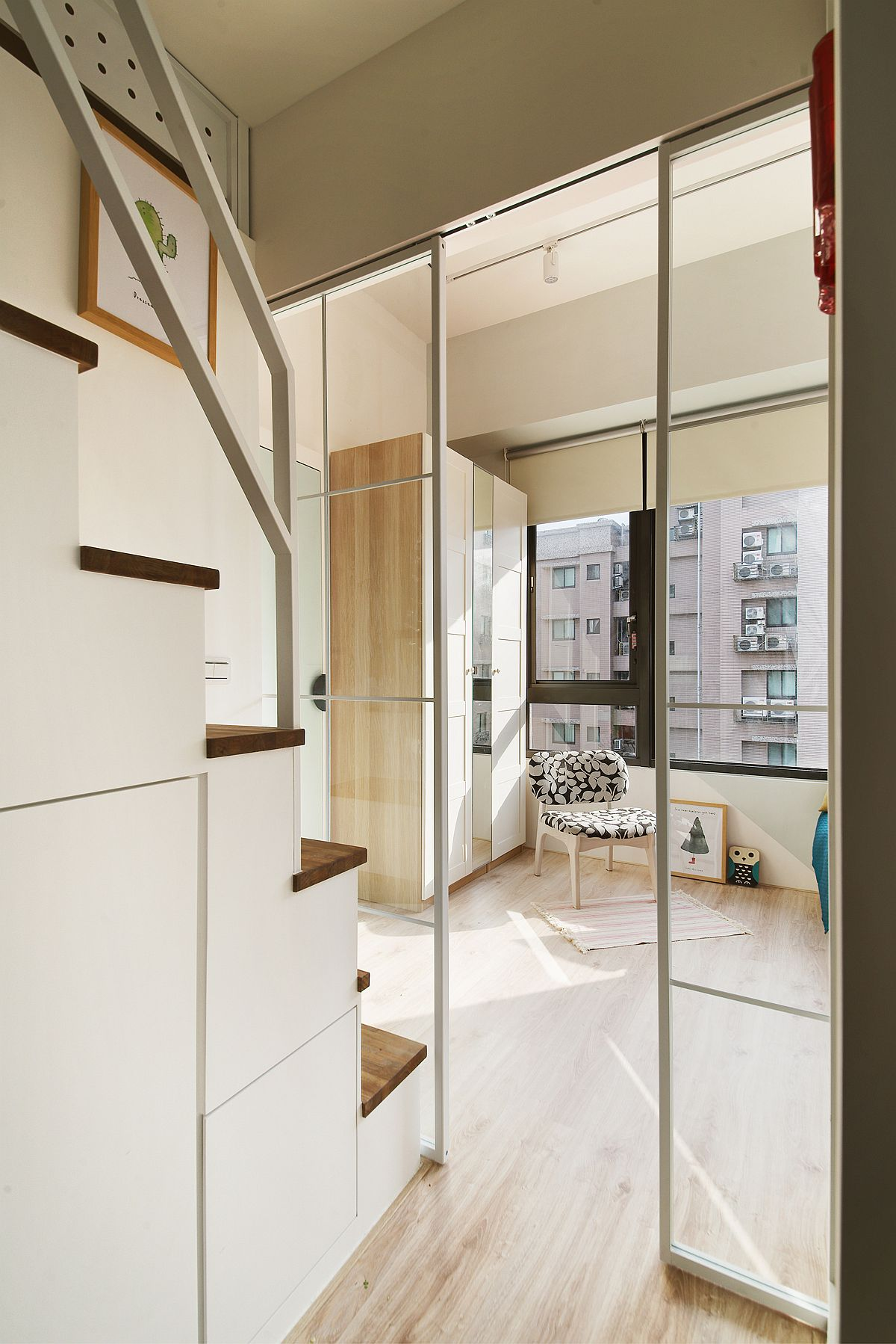 Custom-stairway-sliding-glass-doors-and-hidden-storage-units
