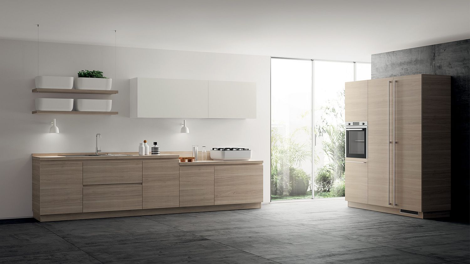 Custom task lighting adds to the minimal appeal of this stylish Scavolini kitchen