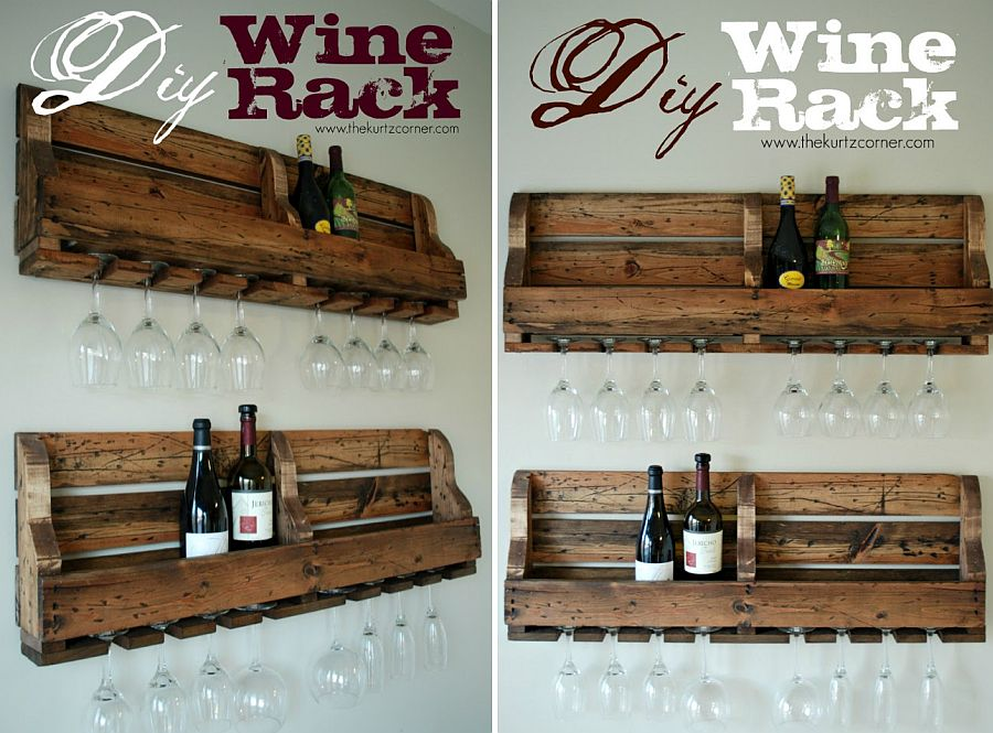 DIY wine rack with plenty of rustic charm