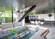 modern living area with concrete ceiling