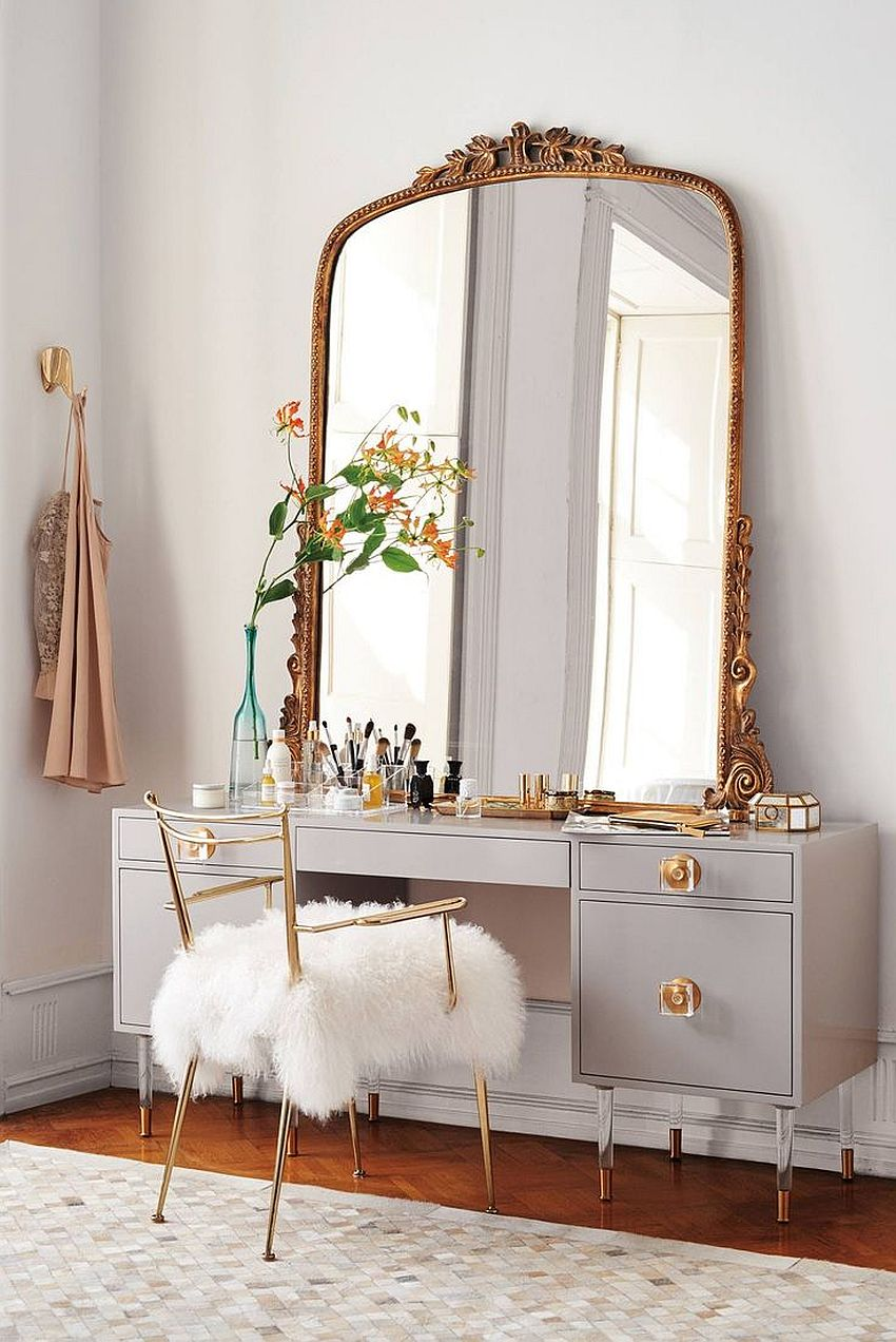 Dashing mirror brings a touch of copper glint to the modern bedroom 20 Makeup Vanity Sets and Dressers to Complete your Dream Bedroom