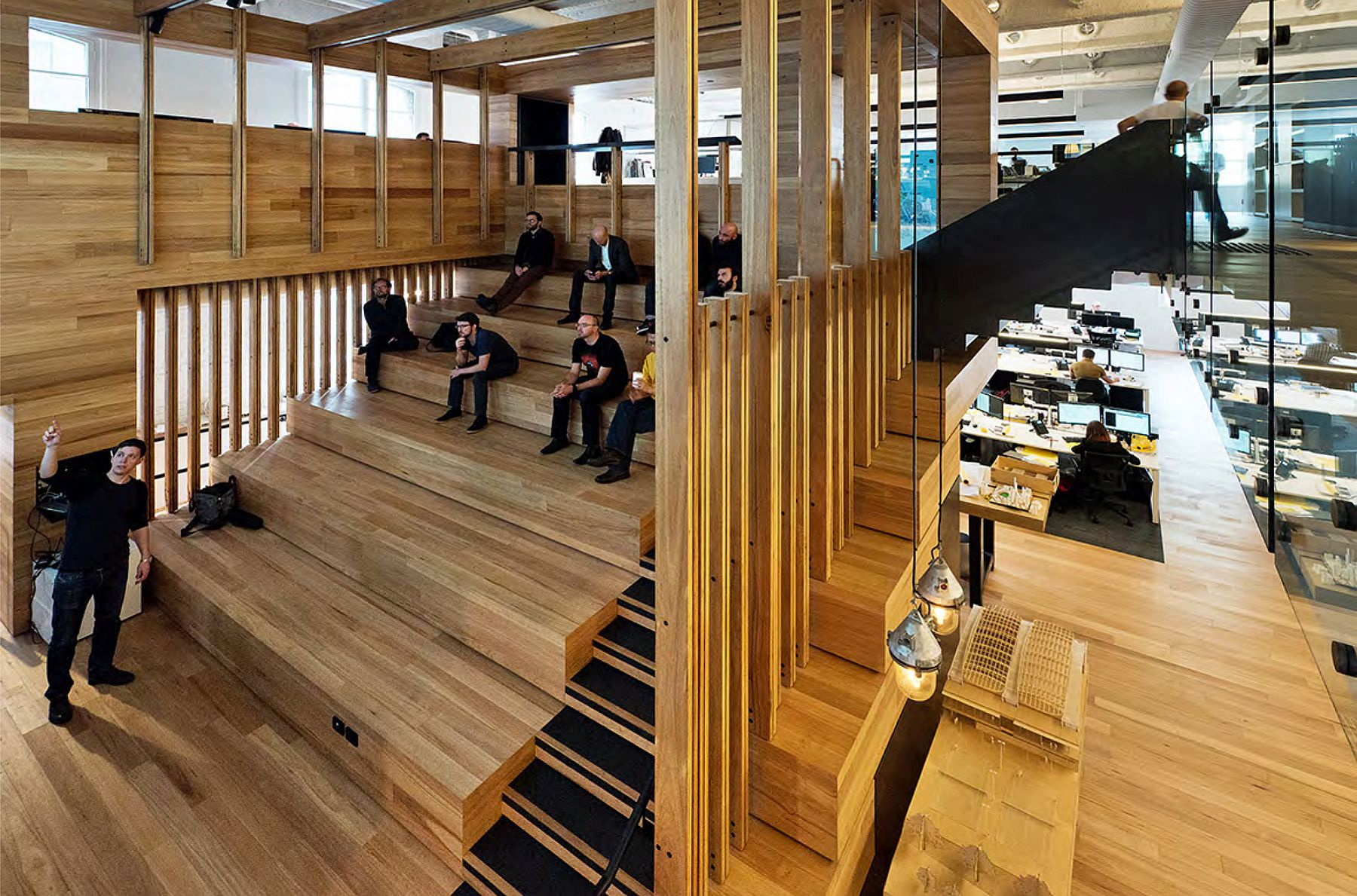 Events space at the heart of the office with multi-level seating