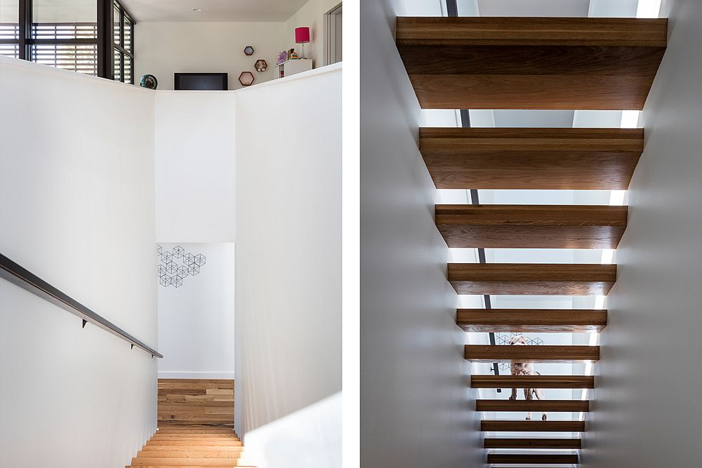 Exquisite wooden staircase also brings in natural light