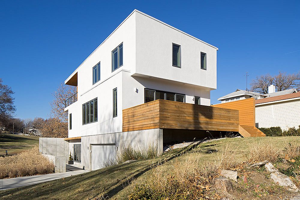 Extended wooden balcony of the modern home