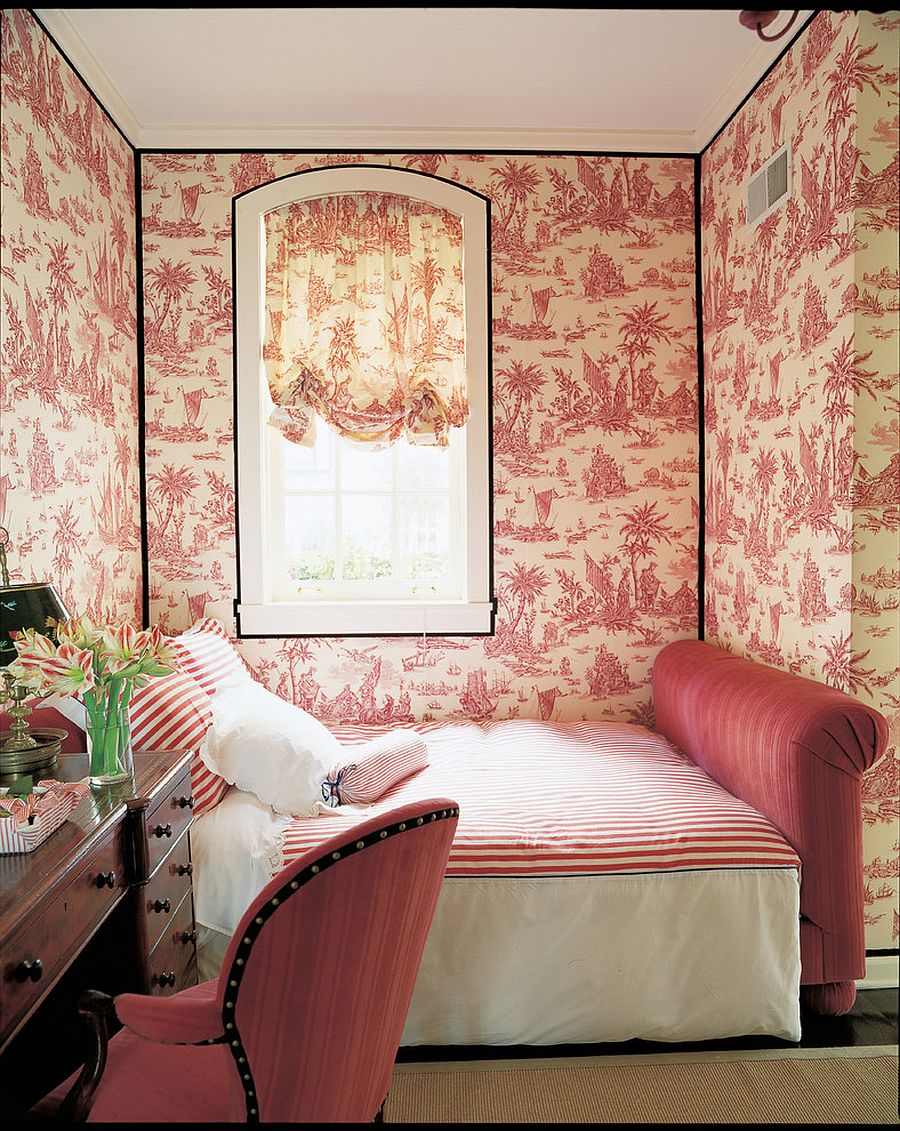 Fabulous wallpaper and small bed turn the corner niche into a lovely bedroom