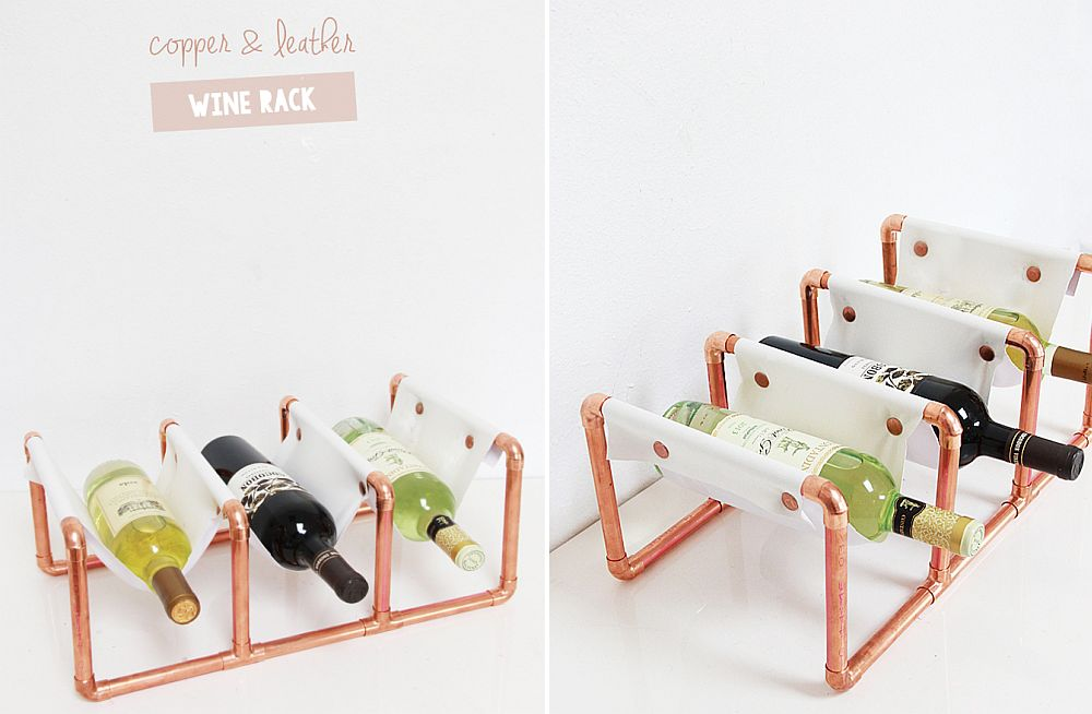 Fashionable copper and leather wine rack DIY