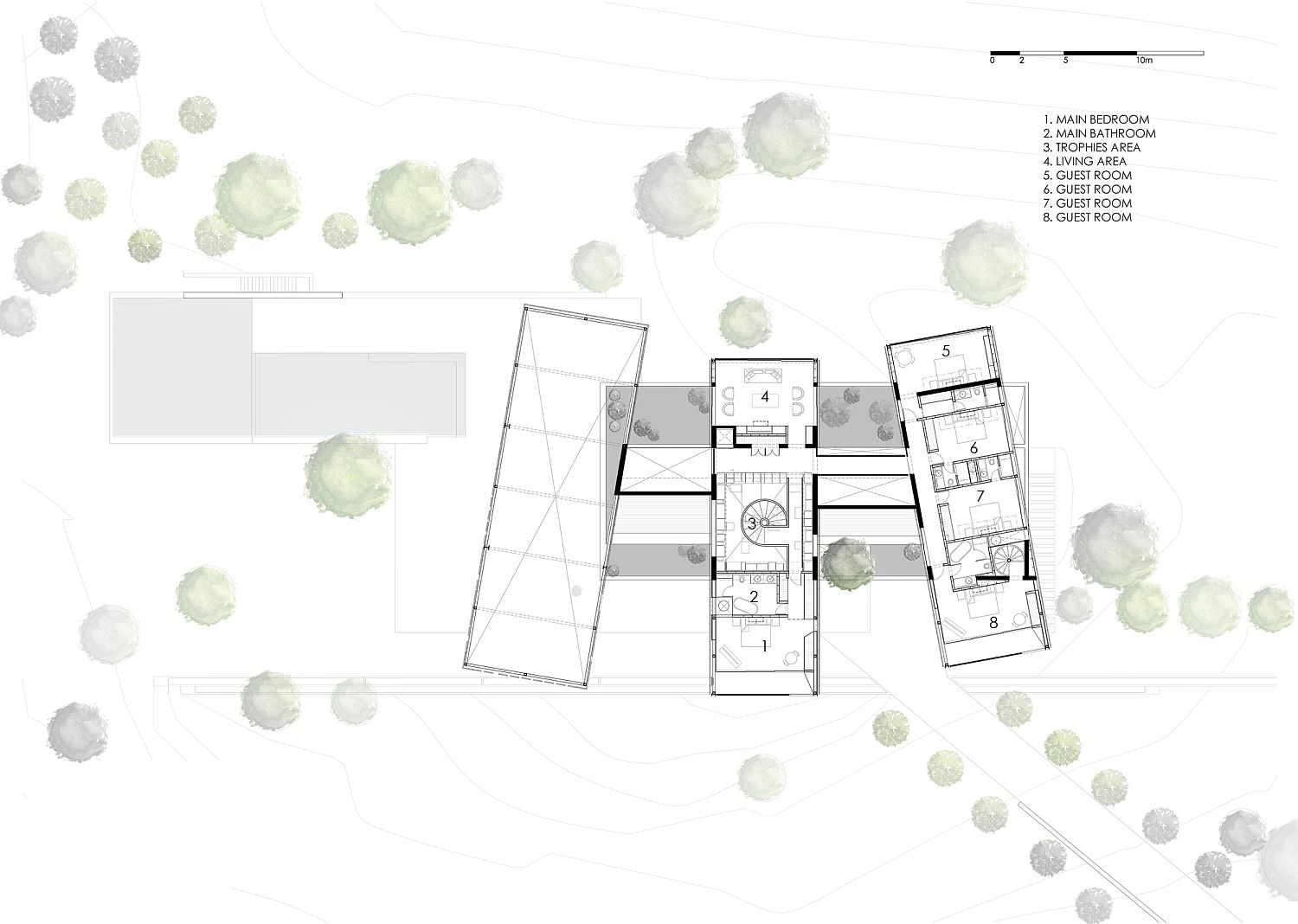 First floor plan of the holiday home on a ranch in Peru