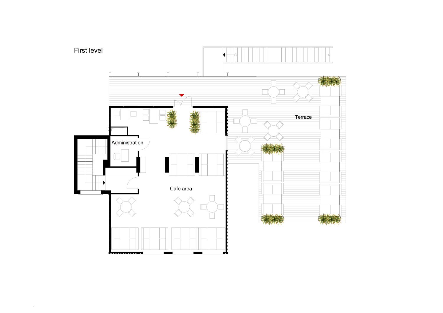 First level floor plan of the UNIT Cafe with terrace