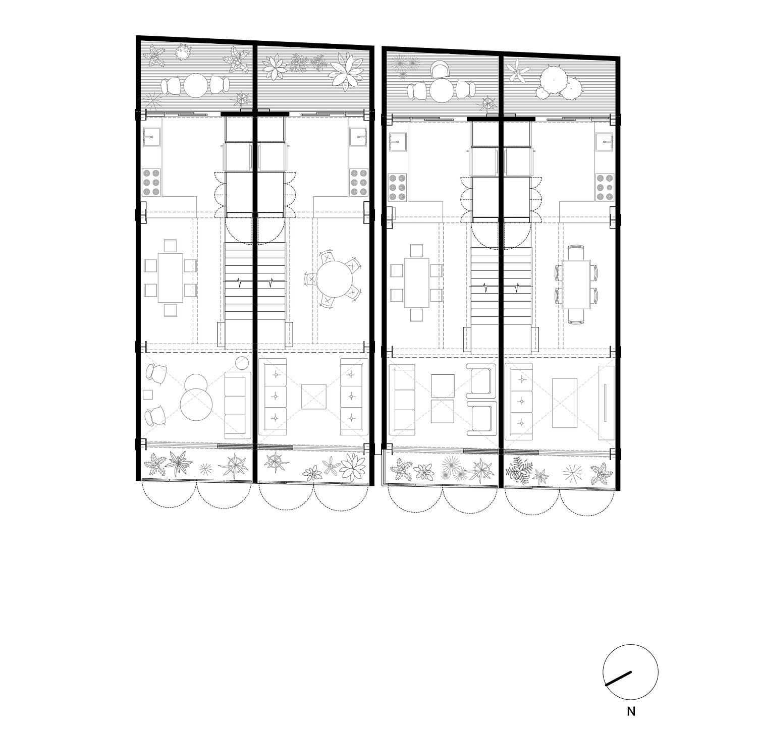 Floor plan of first level of Townhouses Hipódromo