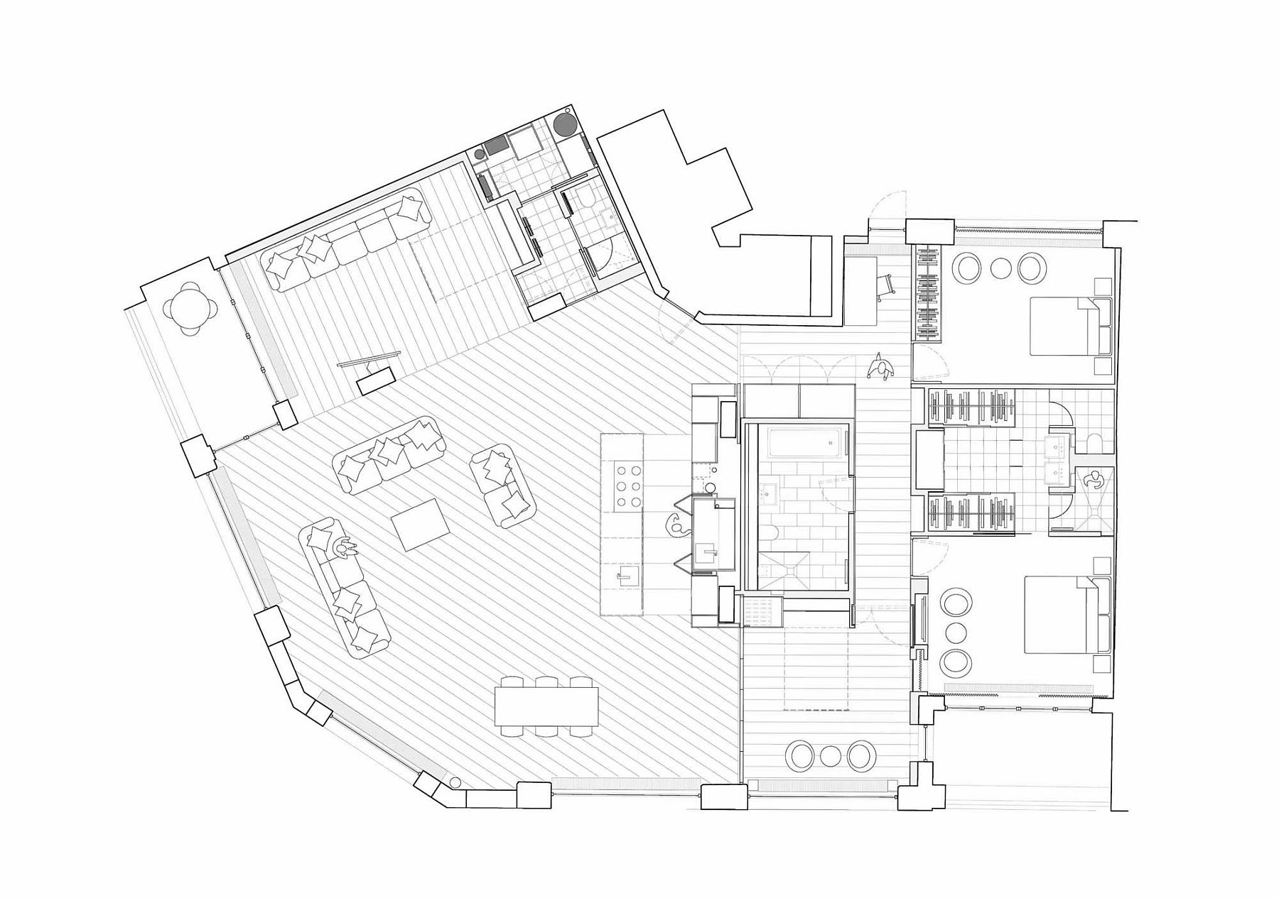 Floor plan of the renovated London loft