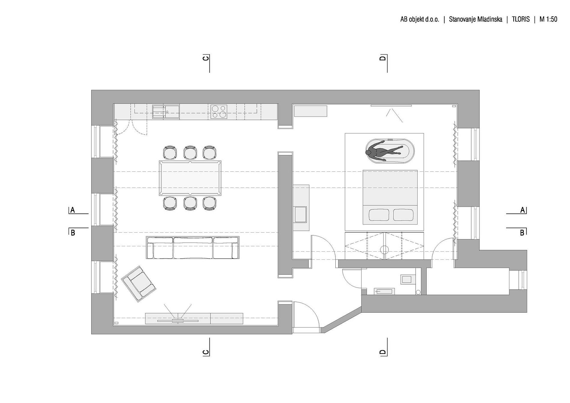 Floor plan of the renovated Slovenia apartment with brick walls