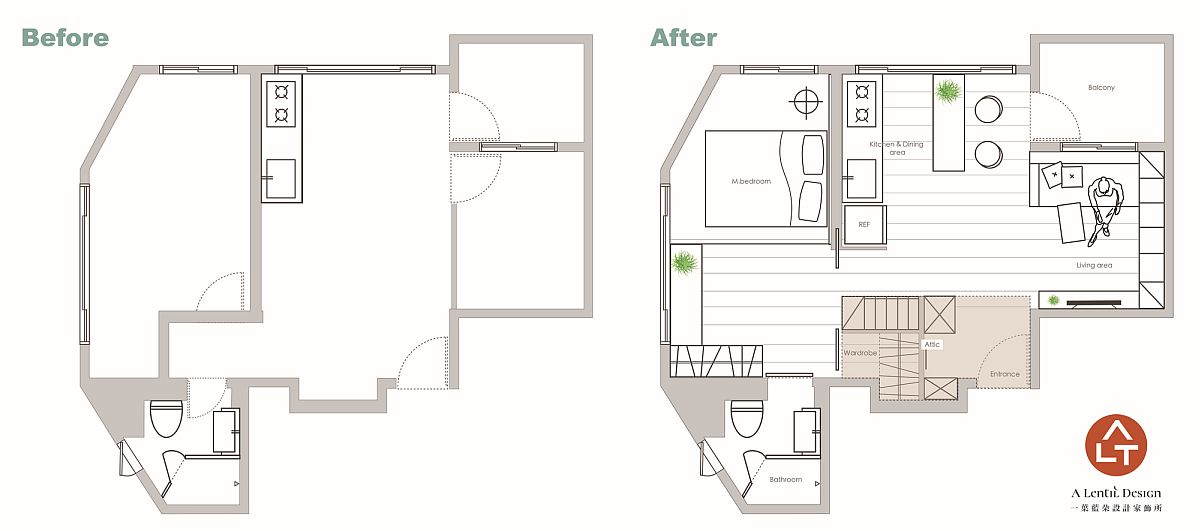 Floor plan of the tiny apartment before and after renovation