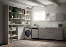 Fluida wall system combined with refined bathroom setting and smart laundry space 217x155 Inventive New Scavolini Composition Combines Bathroom with Laundry Space